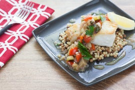 Pan-Seared Hake with Eggplant Caponata & Fregola Sarda
