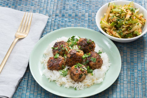 Chicken & Garlic Chive Meatballs with Quick Apple & Brussels Sprout Kimchi