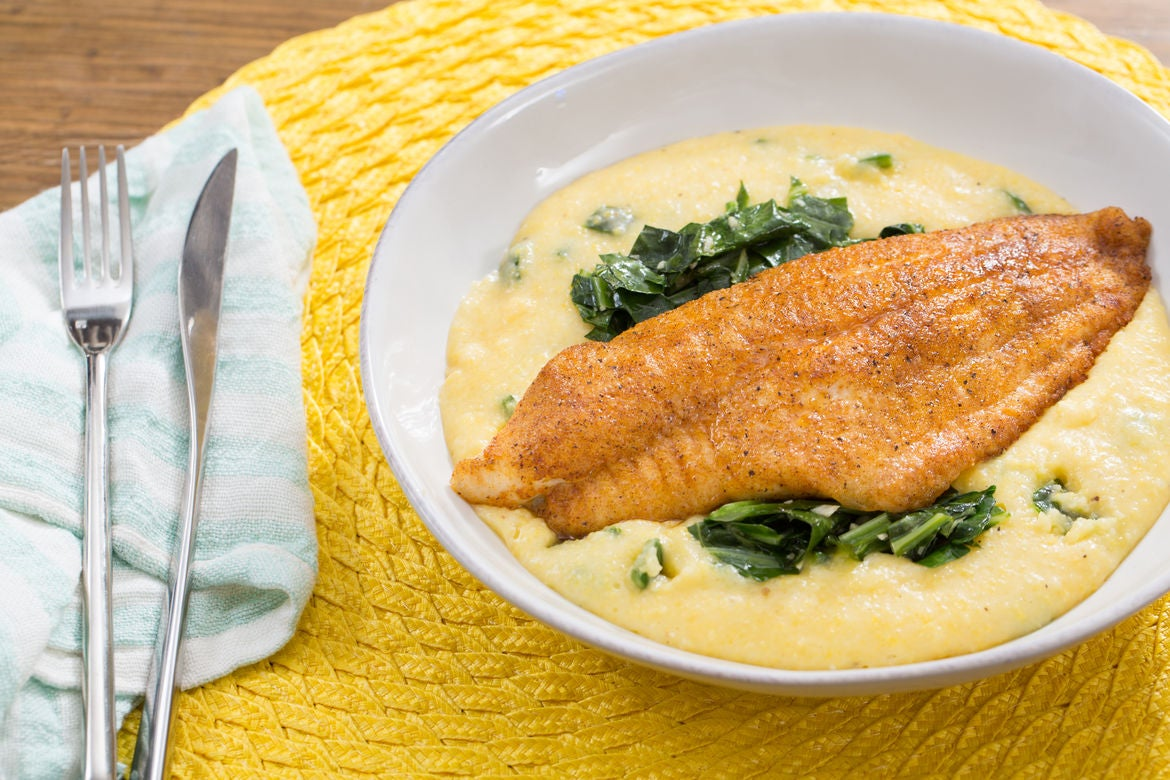 Spiced Catfish & Poblano-Cheddar Grits with Stewed Collard Greens