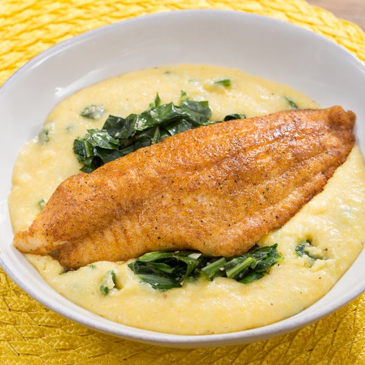 Recipe spiced catfish poblano cheddar grits with stewed for Fish and grits