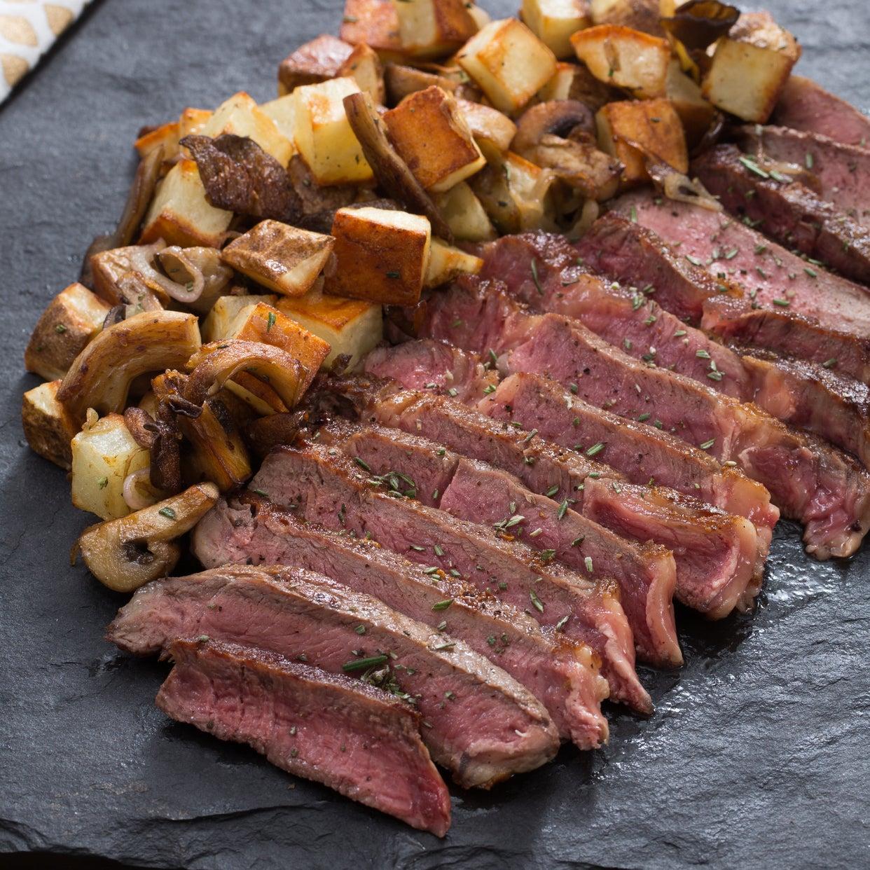 Ribeye Steak for Two with Mushroom & Potato Hash