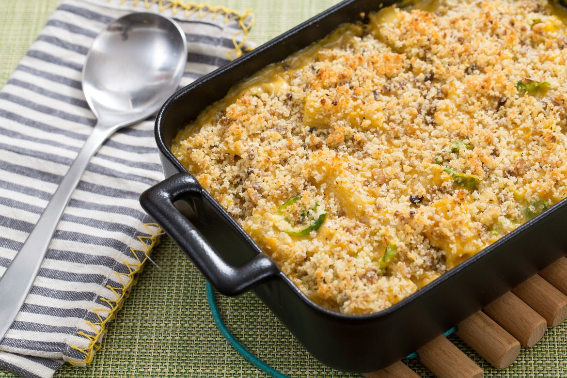 Butternut Squash & Gouda Casserole with Rigatoni, Brussels Sprouts & Chestnut Breadcrumbs