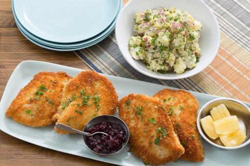 Chicken Schnitzel with Creamy Potato Salad & Lingonberry Jam
