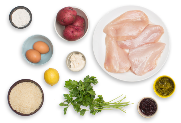 Chicken Schnitzel with Creamy Potato Salad & Lingonberry Jam ingredients