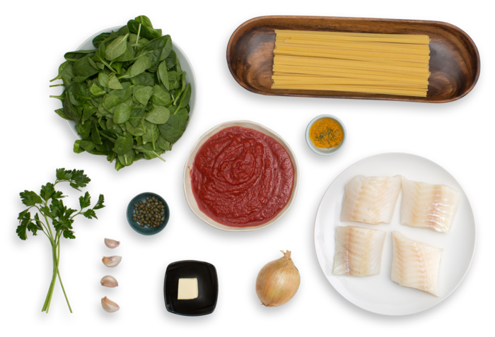 Tomato-Braised Cod & Fettuccine  with Spinach & Capers ingredients
