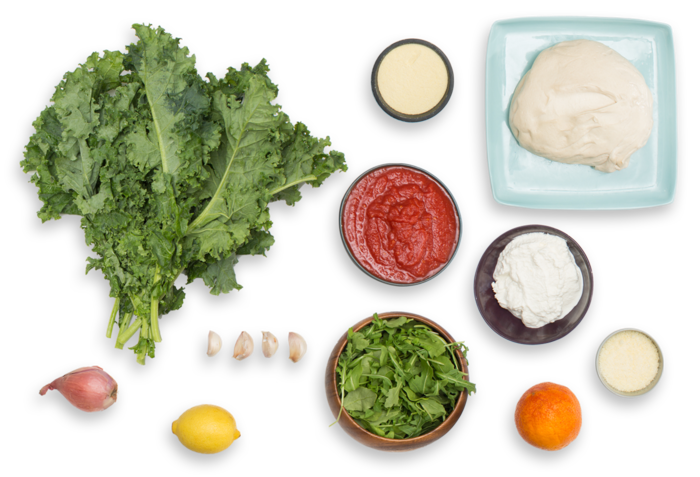 Kale & Ricotta Calzones with Blood Orange & Arugula Salad ingredients