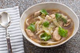 Chicken & Udon Noodle Soup with Napa Cabbage & Dried Lime