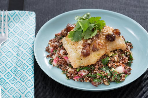 Seared Cod & Date Vinaigrette with Browned Butter, Quinoa & Spinach Salad
