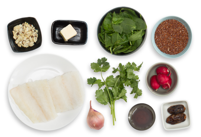 Seared Cod & Date Vinaigrette with Browned Butter, Quinoa & Spinach Salad ingredients