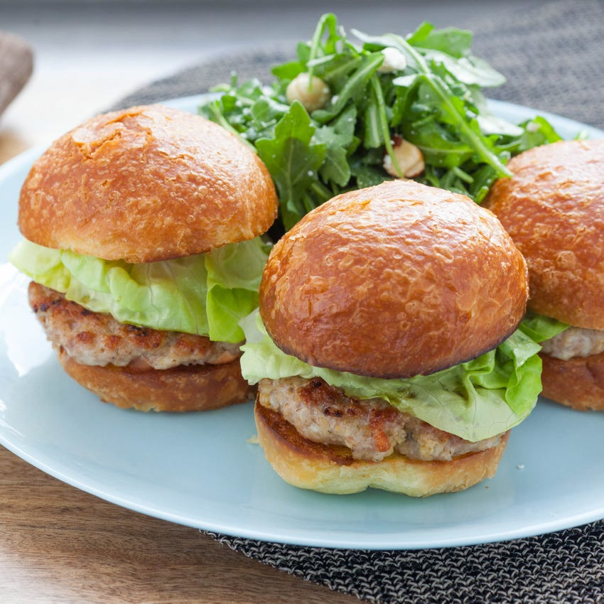 Turkey Burger Sliders with Brioche Buns & Toasted Hazelnut and Arugula Salad