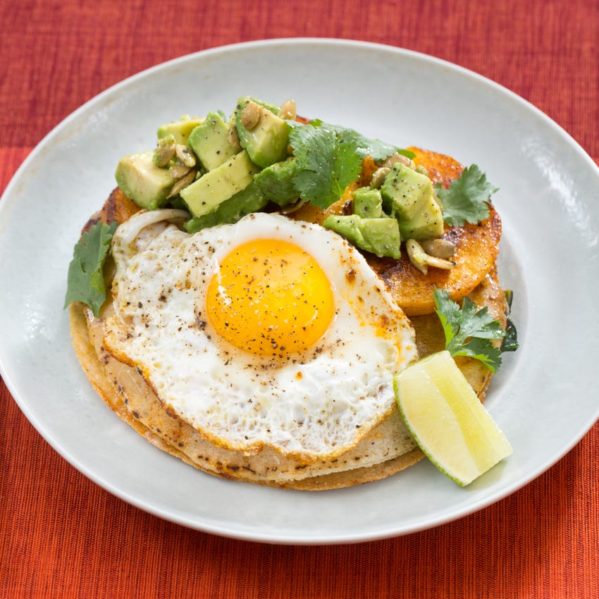 Winter Squash & Baby Kale Quesadillas with Queso Oaxaca & Sunny Side-Up Eggs