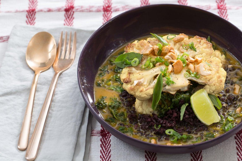 Blue apron seattle - Curried Cauliflower Steaks With Black Rice Thai Basil