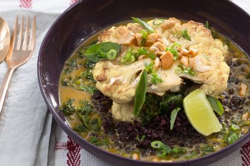 Curried Cauliflower Steaks with Black Rice & Thai Basil