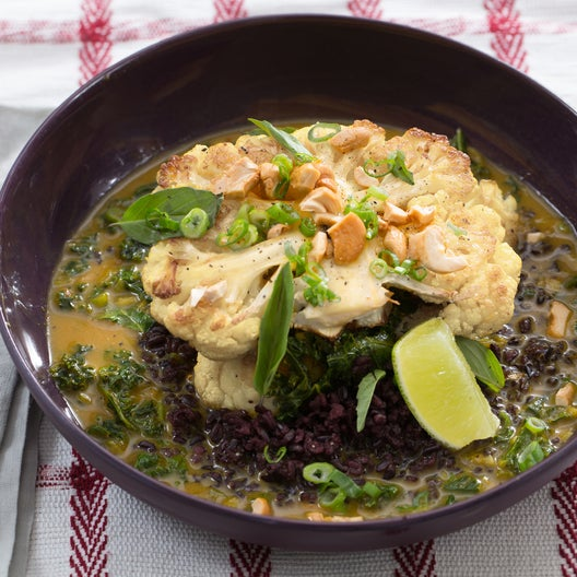 Curried Cauliflower Steaks with Black Rice & Thai Basil