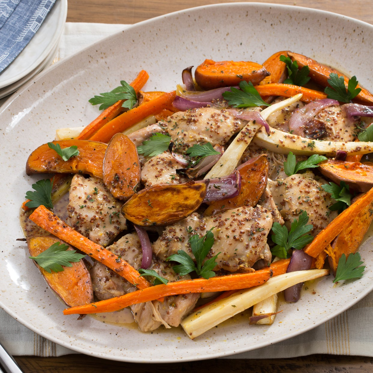Apple Cider-Glazed Chicken with Roasted Parsnip, Carrots & Baby Sweet Potatoes