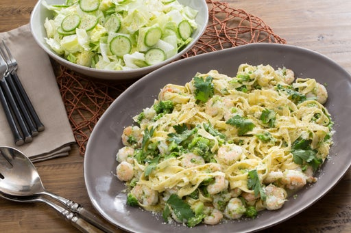 Shrimp Scampi & Fresh Linguine with Broccoli & Cucumber-Iceberg Lettuce Salad