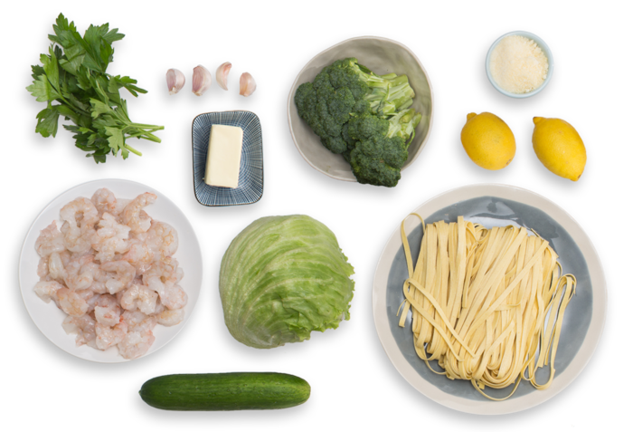 Shrimp Scampi & Fresh Linguine with Broccoli & Cucumber-Iceberg Lettuce Salad ingredients