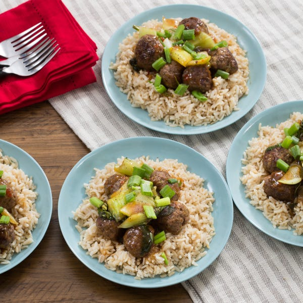 Orange-Glazed Meatballs with Baby Bok Choy & Brown Rice
