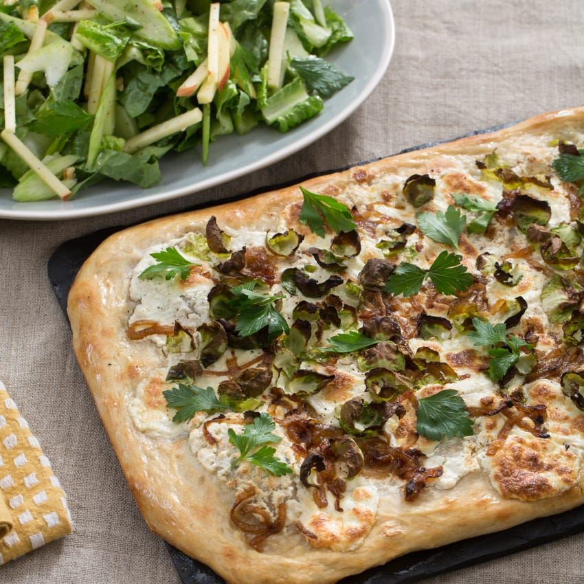 Lemon Ricotta & Brussels Sprout Pizza with Caramelized Onion & Waldorf-Style Salad