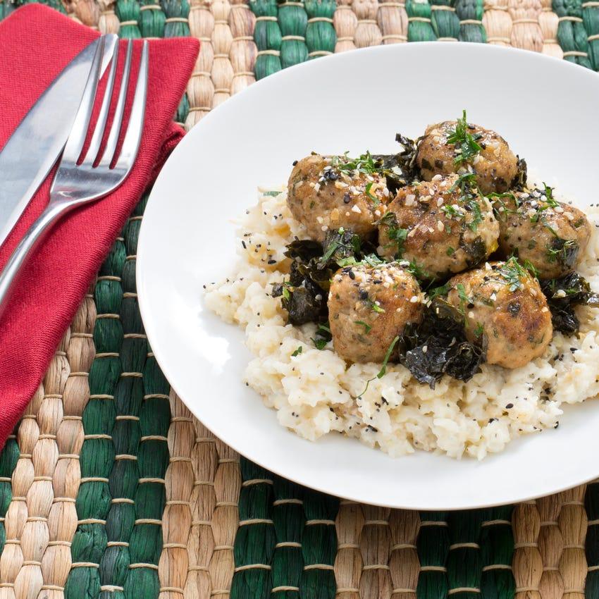 Chicken Meatballs with Braised Kale & Spiced Celeriac Mash