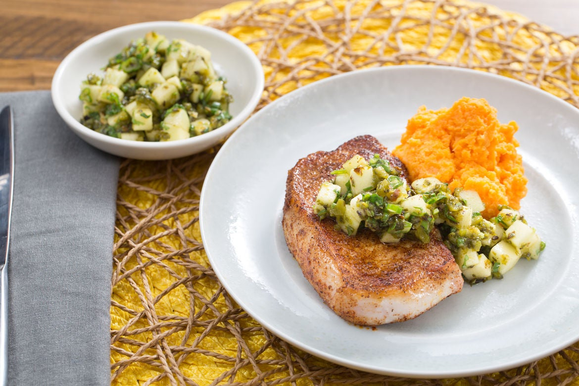 Spiced Pork Chops  with Charred Poblano Salsa & Sweet Potato Mash