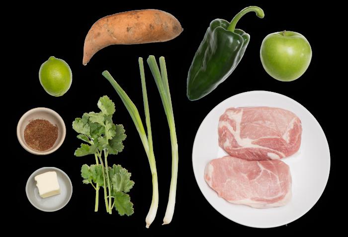 Spiced Pork Chops with Charred Poblano Salsa & Sweet Potato Mash