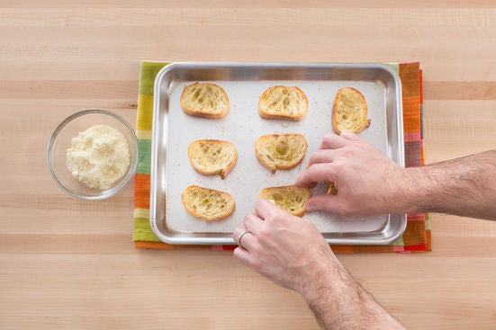 Make the Parmesan-garlic toasts:
