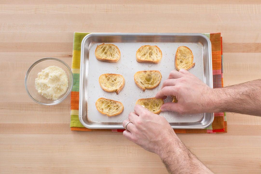 Make the Parmesan-garlic toasts: