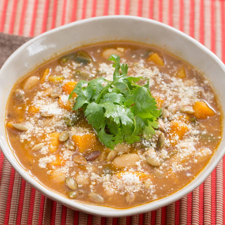 Butternut Squash & Poblano Chili with Toasted Pepitas & Charred Lime