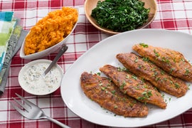 Cajun Fried Catfish & Collard Greens with Mashed Sweet Potatoes & Tartar Sauce