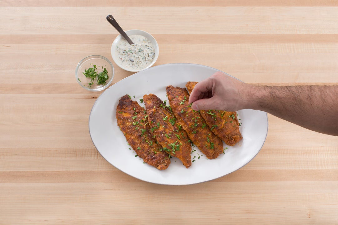 Make the tartar sauce & serve your dish: