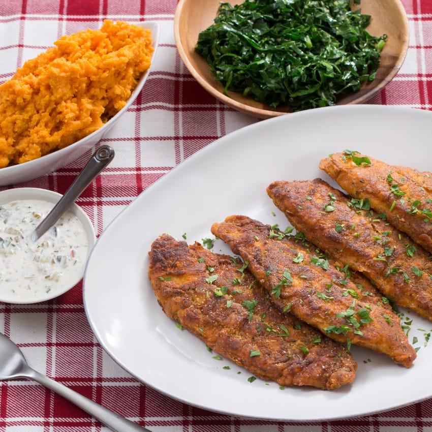 Cajun Fried Catfish & Collard Greens with Mashed Sweet Potatoes & Tartar Sauce