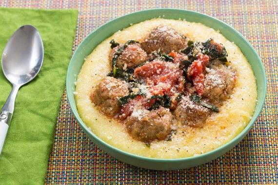 Chicken Meatballs & Creamy Polenta with Tomato Sugo & Lacinato Kale