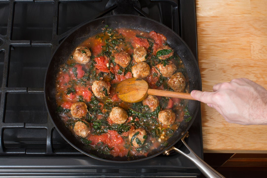 Make the tomato sugo & finish the meatballs: