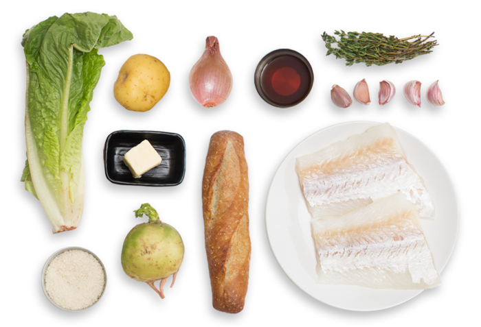 Cod & Potato Brandade with Watermelon Radish Salad & Garlic Toasts ingredients