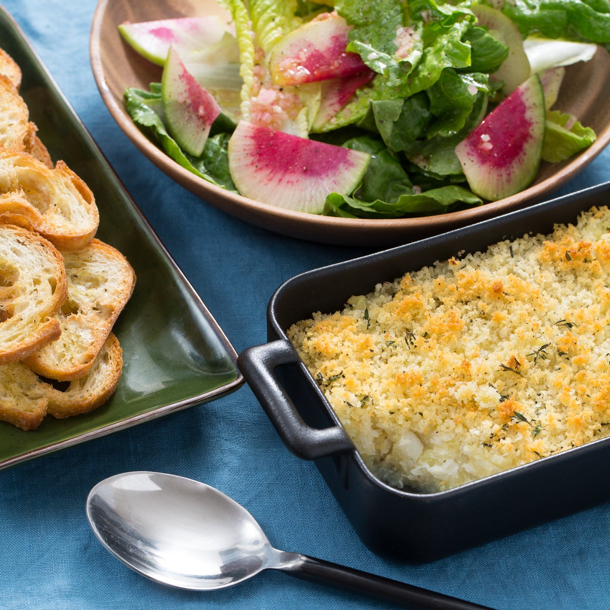 Cod & Potato Brandade with Watermelon Radish Salad & Garlic Toasts