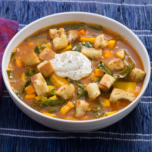 Vadouvan-Spiced Parsnip Soup with Homemade Croutons & Greek Yogurt