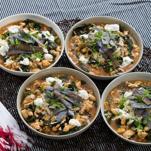 White Turkey Chili with Aged Cheddar Cheese & Blue Corn Tortilla Strips