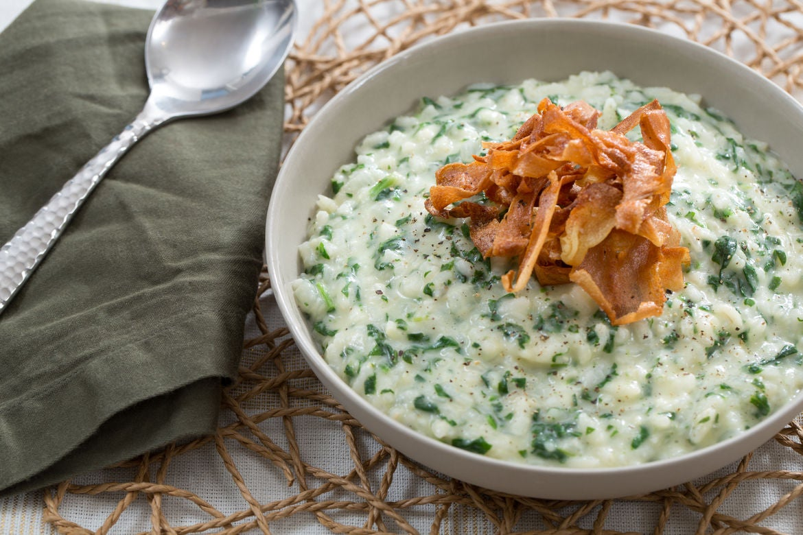 Blue apron jersey city number - Spinach Parmesan Parsnip Risotto With Crispy Parsnip Chips Sage