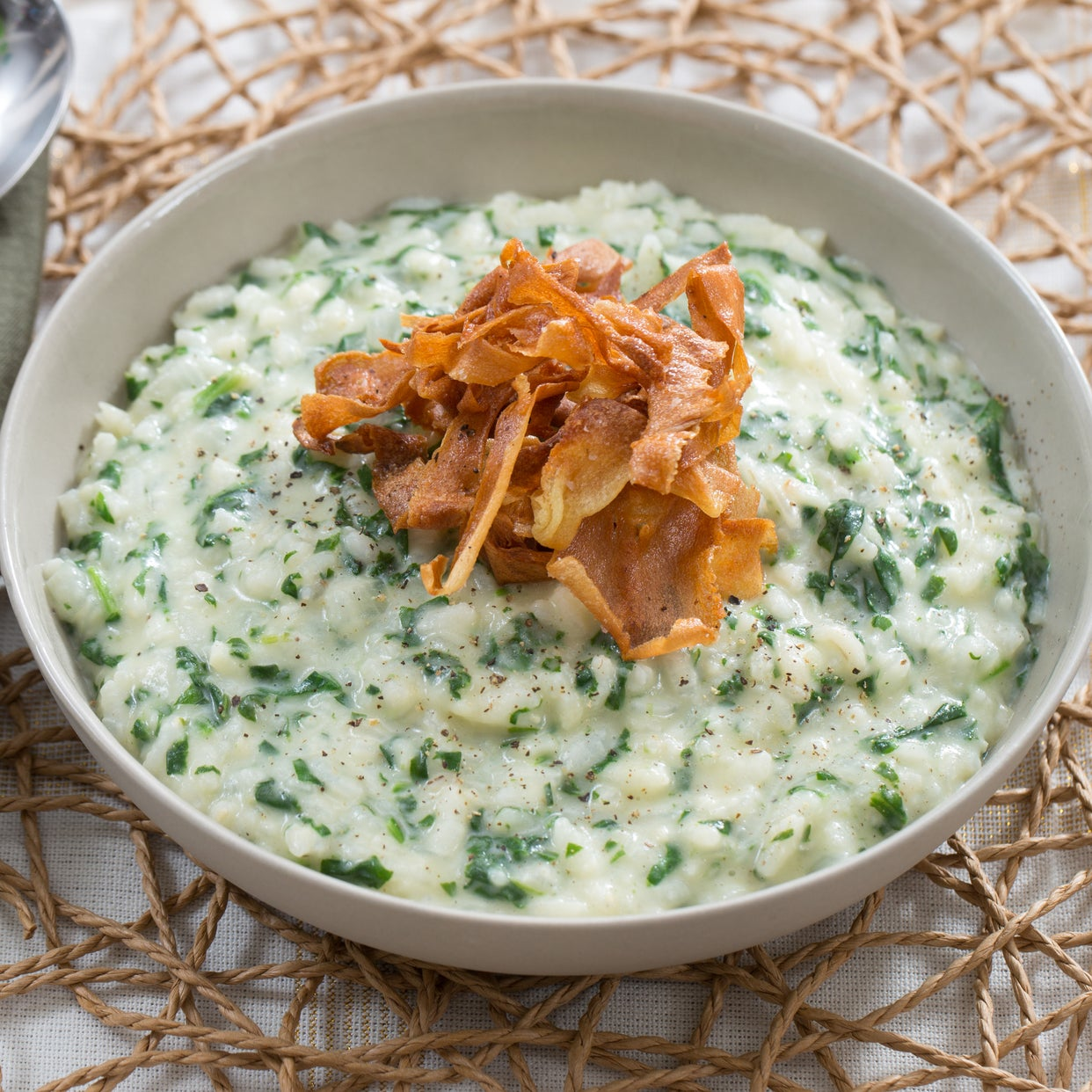 Spinach, Parmesan & Parsnip Risotto with Crispy Parsnip Chips & Sage