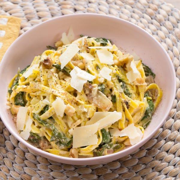 Creamy Lemon Linguine with Caramelized Onion, Chard & Walnuts