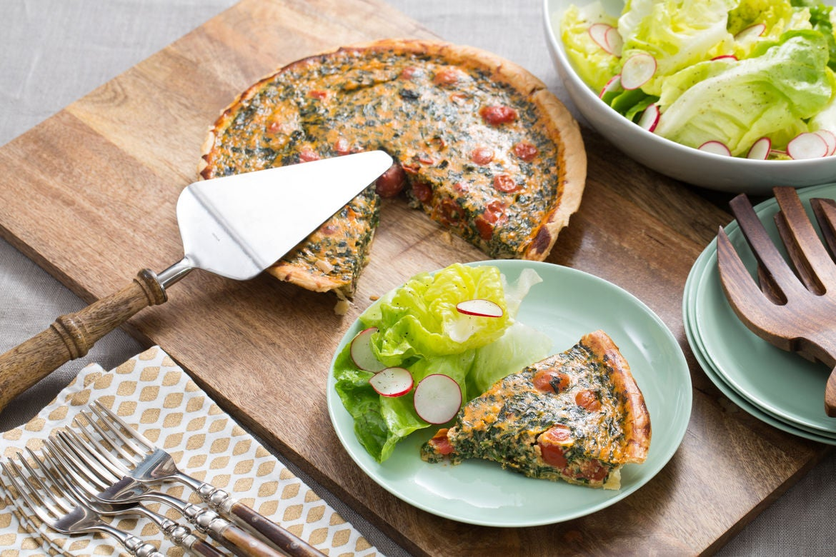 Spinach & Cherry Tomato Quiche with Butter Lettuce & Radish Salad
