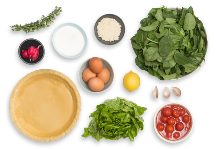 Spinach & Cherry Tomato Quiche with Butter Lettuce & Radish Salad ingredients