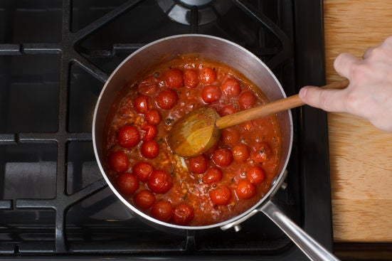 Cook the cherry tomatoes: