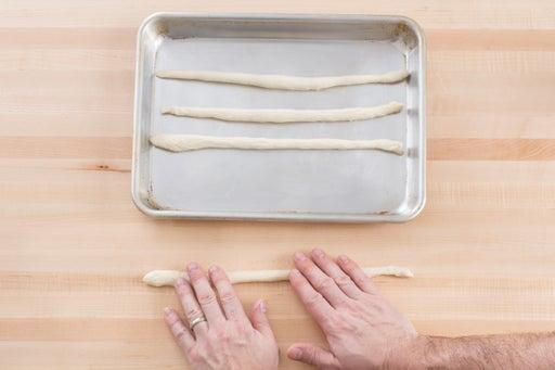 Roll & bake the breadsticks: