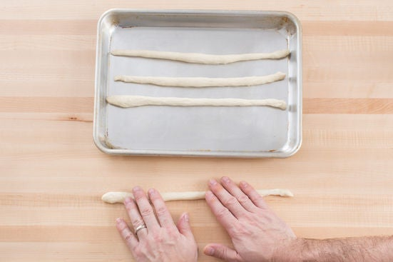 Roll & bake the breadsticks: