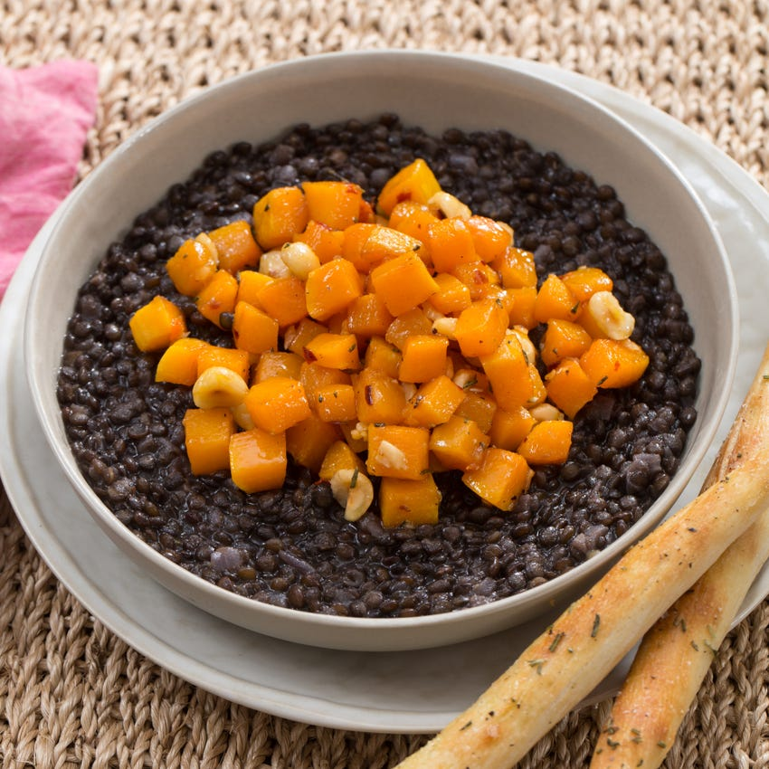 Recipe Beluga Lentil Stew Squash Agrodolce With Rosemary Breadsticks Blue Apron