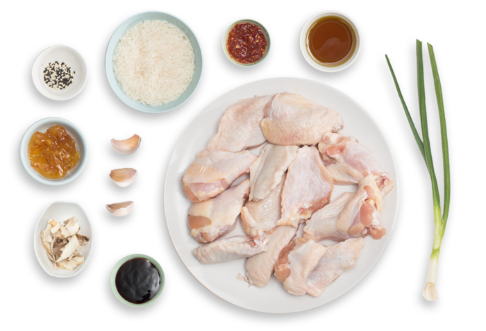 Spicy Orange Chicken Wings with Shiitake-Sesame Rice