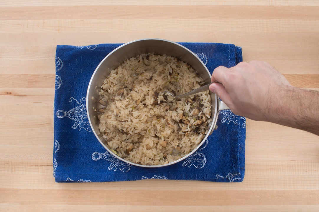 Add the mushrooms & rice: