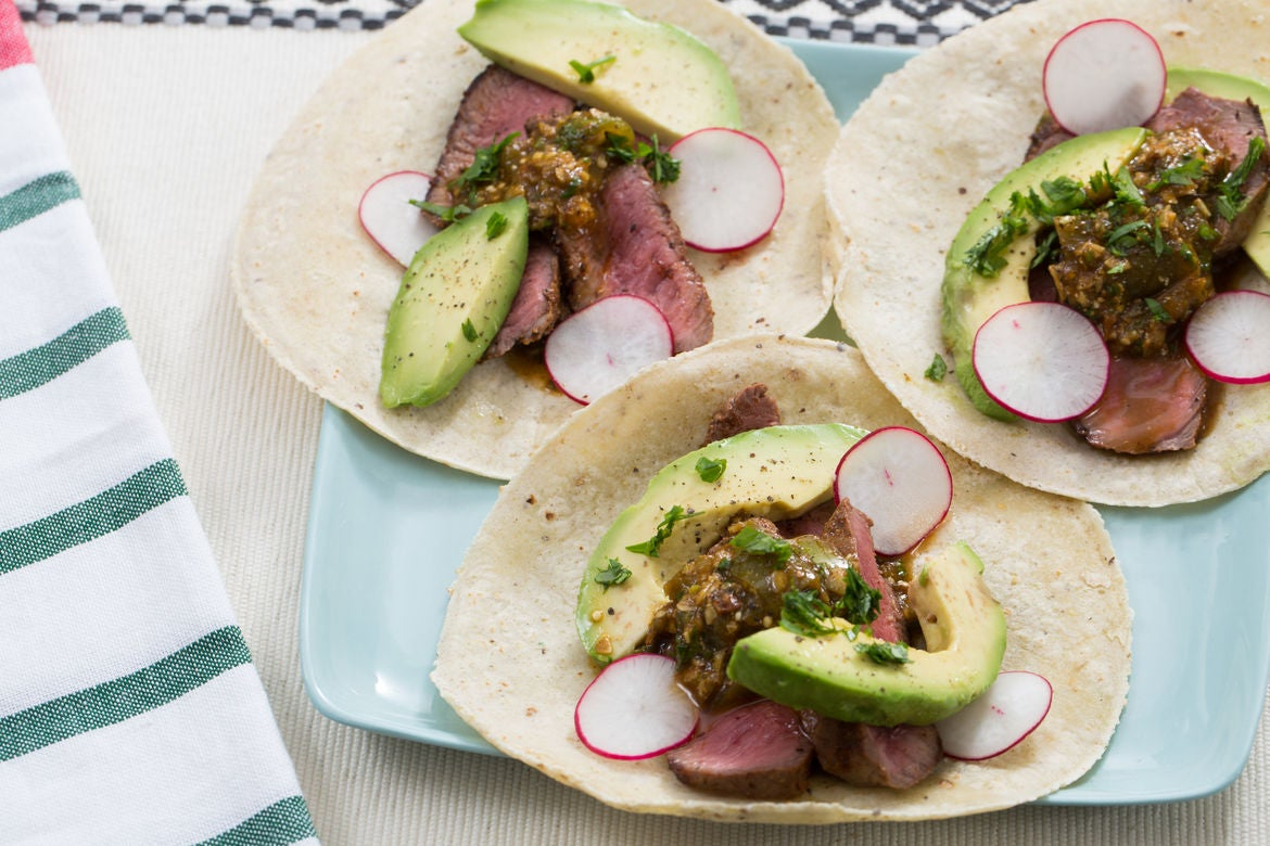 Steak Tacos & Mole Verde with Radishes & Avocado